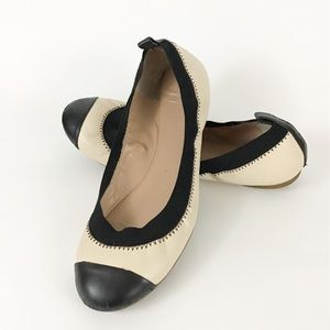 Two Toned Leather Round Toe Ballet Flat